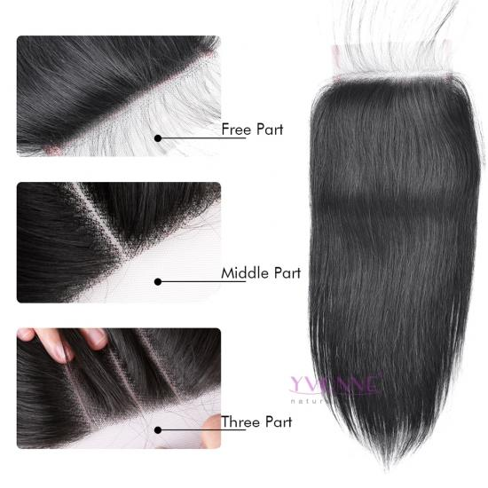 100% Virgin Brazilian Human Hair Lace Top Closure Natural Straight 1B Color