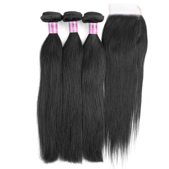 Low Price Remy Hair Straight Weft With Closure,3Bundles Straight Weave With Closure Full Head Natural Color