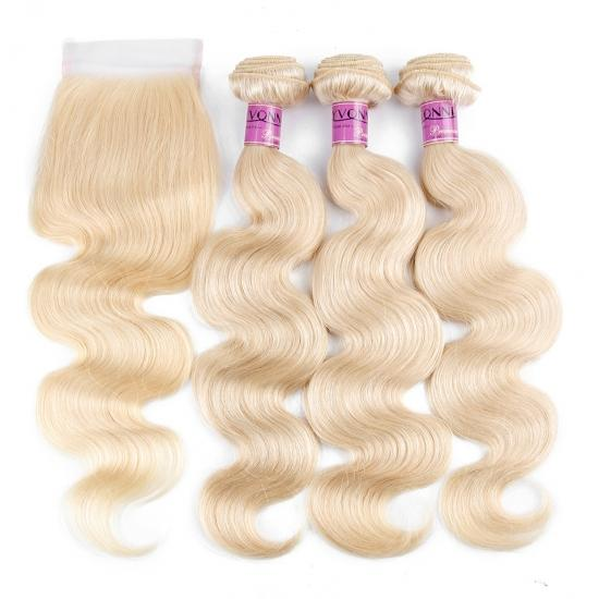 YVONNE Products 3 Bundles 613 Human Hair With Closure,Body wavy hair weft and blonde lace closure,100% Real Human Hair