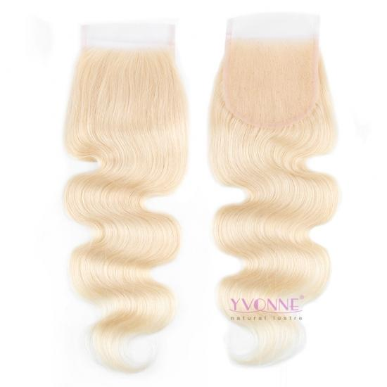YVONNE Free Part Body Wave Blonde Closure,100% Virgin Human Hair,4x4 Lace Closure 613 Color