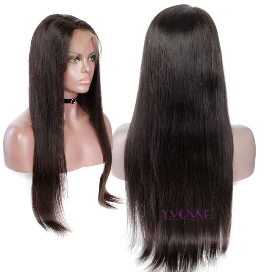 YVONNE Straight Human Hair Full Lace Wigs Brazilian Virgin Hair Natural Color