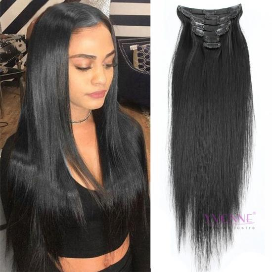 Yvonne Clip In Brazilian Human Hair Extension 18inch and 22inches 120g/package Natural Straight 1B Color