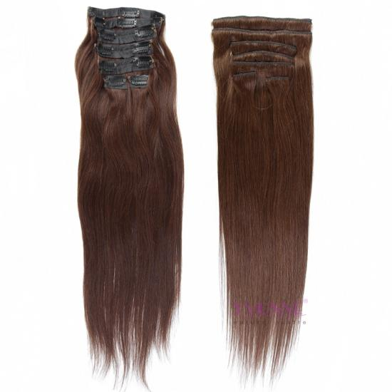 Hot Sale Full Head Clip In Brazilian Human Hair Extension Natural Straight 22inches Color #2