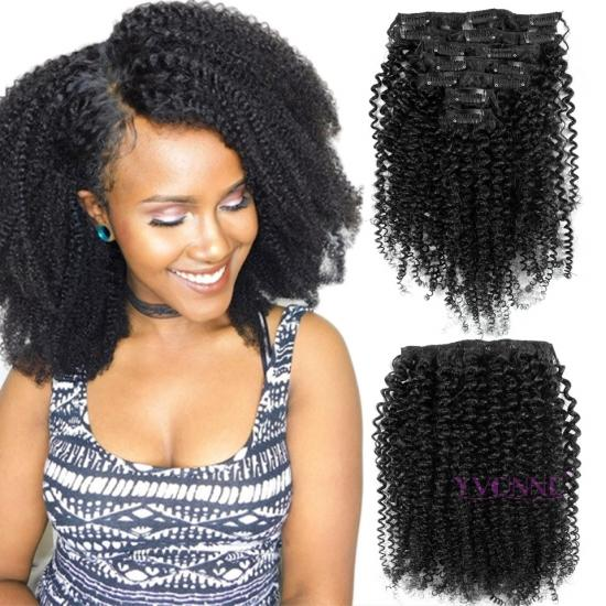 Yvonne Brazilian Virgin Hair Kinky Curly Clip In Hair Extension,7Pcs/set,8-28 Inches in Stock