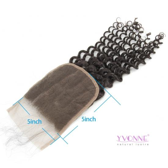 Yvonne Hair Deep Wave 5x5 Lace Closure Free Part Swiss Lace Natural Human Hair Closure With Baby Hair