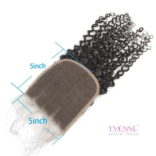 Yvonne Hair Malaysian Curly 5x5 Lace Top Closure Free Part Natural Human Hair Closure With Baby Hair