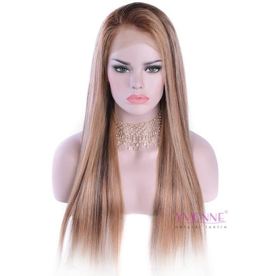 YVONNE Ombre Straight Wig Lace Front Human Hair Wigs Color T4-4/27