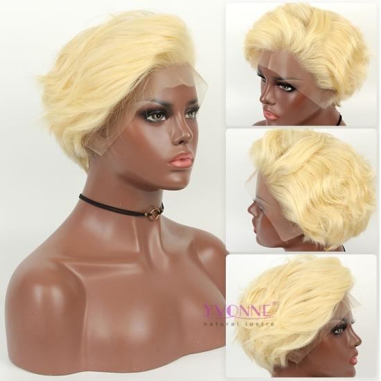 Yvonne Hair Design Creative Hairstyle 613 Blonde Pixie Cut Wigs Lace Front Human Hair Wavy Wigs 8 Inches