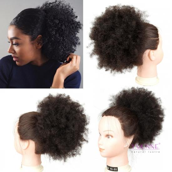 YVONNE Afro Kinky Curly Ponytail For Women Natural Color Human Hair Clip In Ponytails