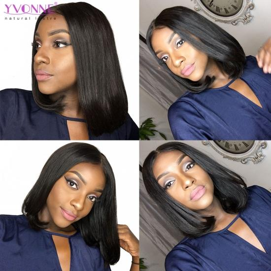 YVONNE 13x6 Lace Front Human Hair Wigs Brazilian Straight Bob Natural Wig Pre Plucked Baby Hair