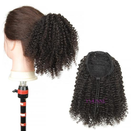 YVONNE Kinky Curly Ponytail For Women Natural Color Human Hair Clip In Ponytails