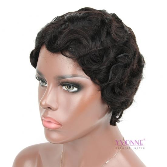 Yvonne Fashion Hair Finger Wave Hairstyle Natural Color Short Pixie Cut Wig 100% Human Hair
