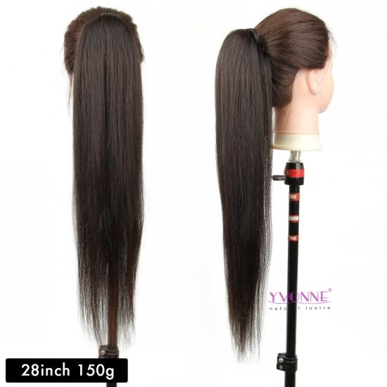 YVONNE Clip In Ponytails For Women Yaki Straight 100g/Piece 100% Human Hair Ponytail Extensions