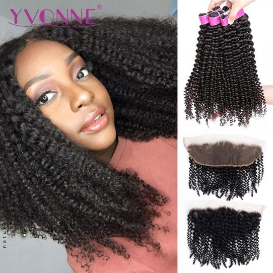 Yvonne Kinky Curly Brazilian Virgin Human Hair Bundles With Frontal Natural Color 3 Bundles Hair Weave With 13.5*4 Lace Frontal