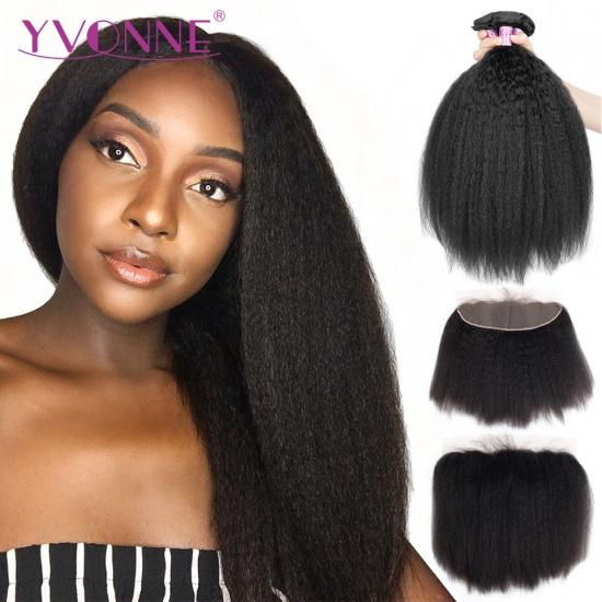 YVONNE Brazilian Kinky Straight Lace Frontal With Bundles,Lace Frontal 13.5x4 With 3Pcs Hair Weaves