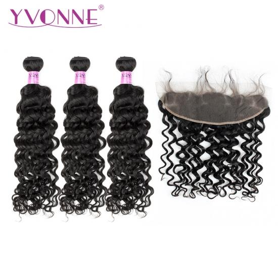 YVONNE Fashion Hair Italian Curly 1PCS 13.5*4 Lace Frontal Closure With 3 Bundles Hair Weave Natural Color