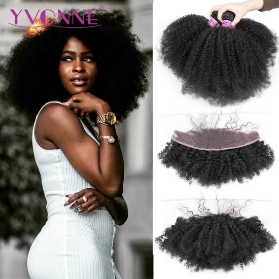 Yvonne 4A 4B Afro Kinky Curly Virgin Brazilian Hair Weave Bundles With Frontal Natural Color 3 Bundles With 13*4 Lace Frontal