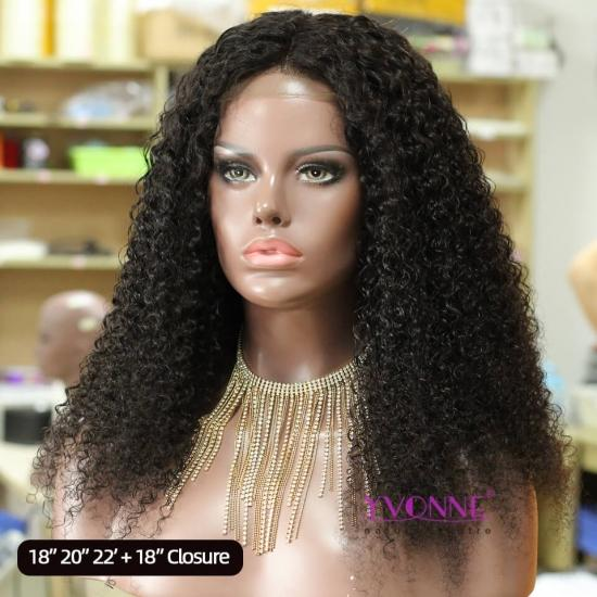 YVONNE Customized DIY Wigs Malaysian Curly 4x4 Lace Closure Wigs High Density Natural Color With Natural Hairline