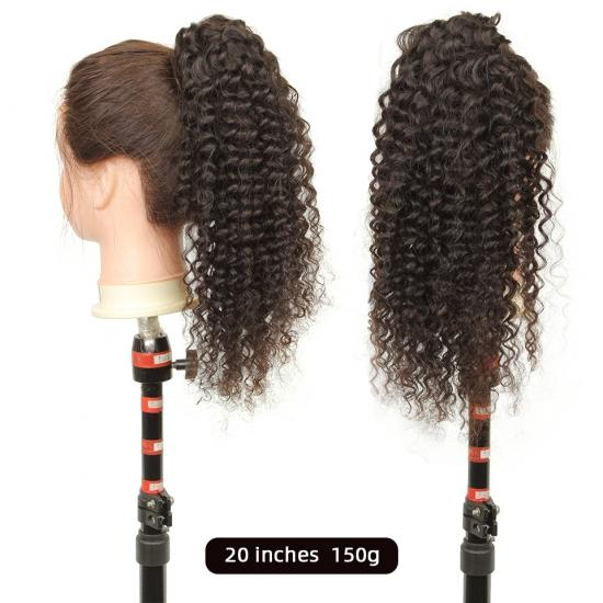 YVONNE Deep Wave Drawstring Ponytails For Women Natural Color 100% Human Hair Ponytail