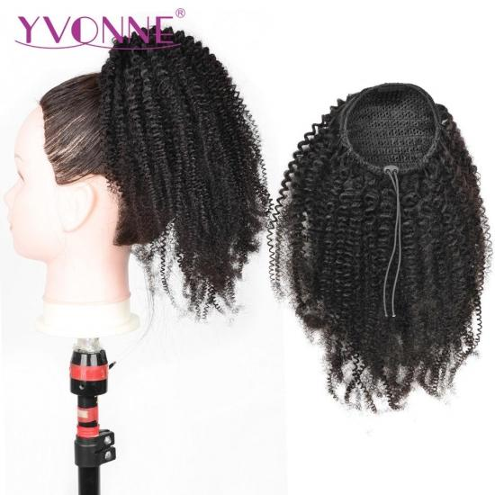 Yvonne 4B 4C Kinky Coily Drawstring Ponytail Brazilian Virgin Hair Clip In Extensions Natural Color