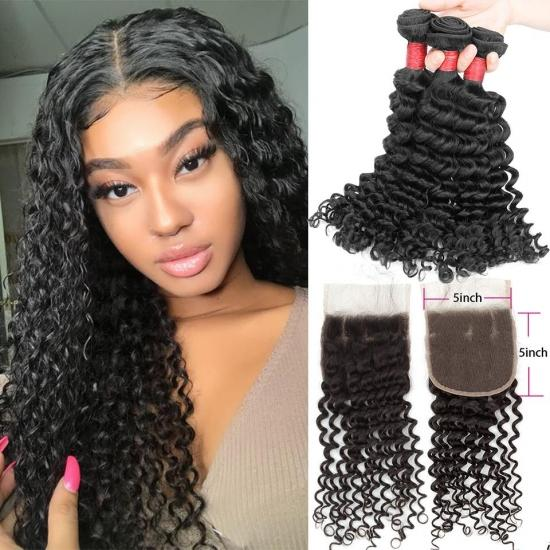 YVONNE Diamond Quality Deep Wave Brazilian Hair Bundles With 5x5 Lace Closure Natural Color and High Ratio