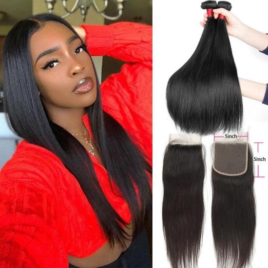 YVONNE Diamond Quality Brazilian Straight Hair Bundles With 5x5 Top Closure Natural Color and High Ratio