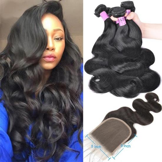 YVONNE Diamond Quality Body Wave Virgin Hair Weave With 5x5 Lace Closure Natural Color and High Ratio