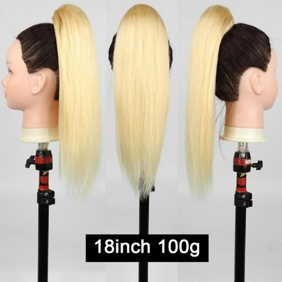 YVONNE Straight Drawstring Ponytail Human Hair Extensions High Ratio Brazilian Hair 613 Blonde Color