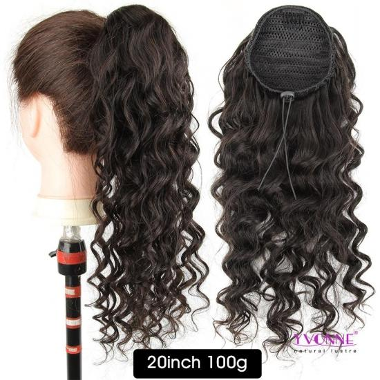 Yvonne Brazilian Curly Drawstring Ponytail Human Hair Clip In Extensions Natural Color 1 Piece