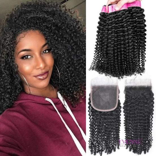 Free Shipping 3 Bundles YVONNE Kinky Curly Virgin Hair With 4x4 Lace Closure,Brazilian Human Hair Bundles Natural Color