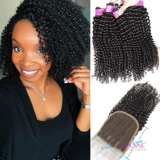 HOT SELA Yvonne 4A 4B Kinky Curly Bundles With 5×5 Lace Closure,3+1 Human Hair Bundles With Closure
