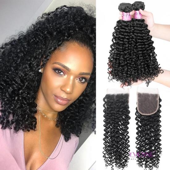 YVONNE Platinum Hair 3 Bundles Malaysian Curly Hair With Closure,100% Brazilian Virgin Hair Bundles With 4x4 Closures Free Shipping
