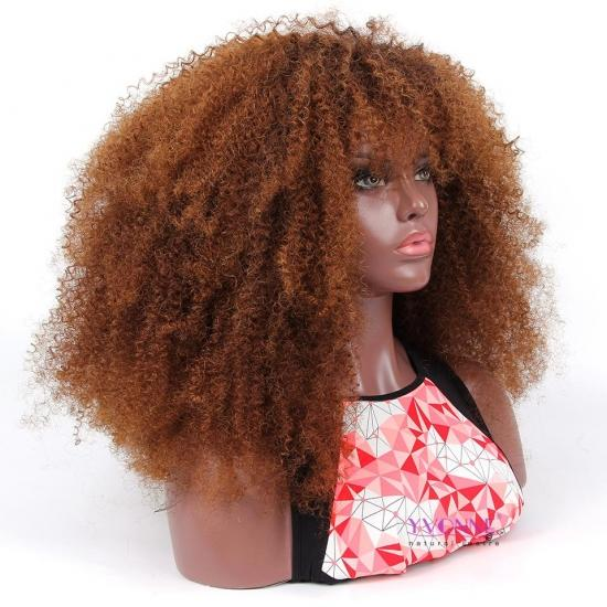 YVONNE Much Fuller Customized Ombre 1B/4 Kinky Curly Wig With Bang 100% Human Hair Wigs