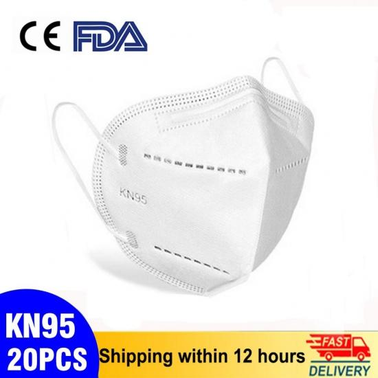 20PCS CE FFP2 & FDA KN95 Face Masks Anti-fog Protective Mask Safety Anti PM2.5 Dustproof Masks 95% Filtration Mouth Masks Fast Delivery