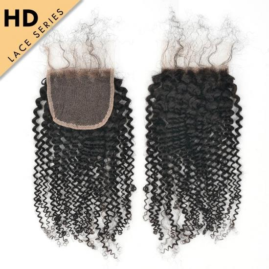 Yvonne HD Lace Top Closure 4*4 Kinky Curly HD Swiss Lace Closure Free Part Virgin Human Hair With Baby Hair