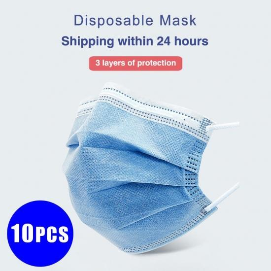 10PCS 3 Layers Non-woven Disposable Mask Dustproof and anti-smog breathable mask Protection Fabric Dust Mouth Masks