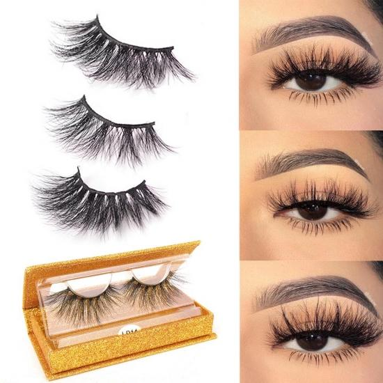 YVONNE 25mm Mink Lashes,25mm Eyelashes Natural False Eyelashes Siberian Mink Lashes Natural Look Eyelashes Hand-made Fluffy Volume Lashes 1 Pair