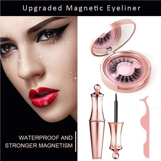 Magnetic Eyelashes, Magnetic Eyeliner and Eyelashes Kit Include 1Pairs Reusable 3D Lashes 1 Waterproof Eyeliners Tweezer, Multi Styles False Eyelashes Easy to Wear No Glue Needed