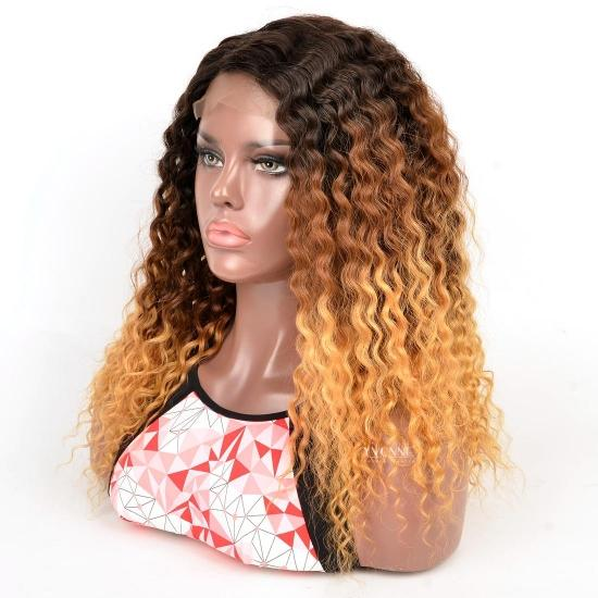 YVONNE 4x4 Lace Front Wig T1B/4/30 Deep Wave Ombre Color Wig Less Inventory